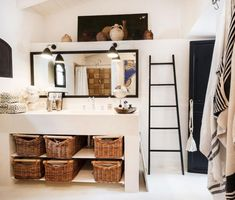 FASHION DESIGNER MALENE BIRGER'S HOME ON MAJORCA Have area like this with sink in master closet