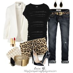 White blazer with leopard accents :)
