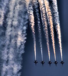 Blue Angels.They come to Tinker Air Force Base occasionally. We watch them perform from our front yard. Amazing!!