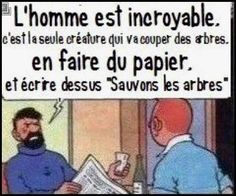 "Men are incredible- its the only creature that who will cut trees , turn it into paper and then write on it "" Let's save the trees""lol Humour Geek, Frases Humor, French Quotes, Meme French, Humor Grafico, Laugh Out Loud, True Stories, Quotations, Funny Jokes"