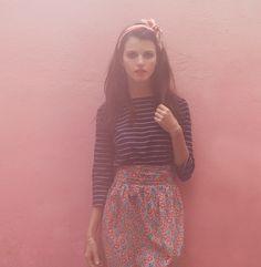 Head band, striped shirt, floral skirt