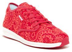 Red Reebok paisley print tennis shoes