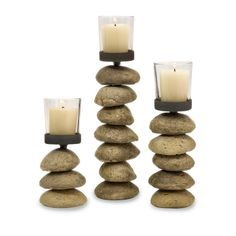 Carin Candleholders with Glass Votive Cup- Set of 3 | Coastal Style Gifts