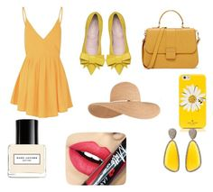 """school #4 yellow"" by amanduielmalfoy ❤ liked on Polyvore featuring moda, Glamorous, Kate Spade, Eugenia Kim, Christina Debs, Marc Jacobs e Fiebiger"