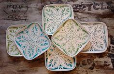 Platos pintados a mano juego 6 tonos de verde