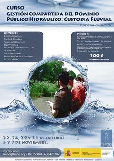 """La Fundación Limne y la Confederación Hidrográfica del Júcar organizamos el curso """"Gestión compartida del Dominio Público Hidráulico: custodia fluvial"""" que tendrá 24 horas teóricas (a realizar los días 22, 24, 29 y 31 de octubre) y 12 horas prácticas (5 y 7 de noviembre)."""