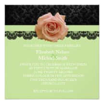 Rose Green Black Luxury Damask Wedding Invite