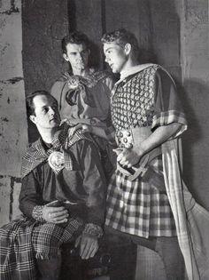 "James Dean on the set of ""Macbeth"" at UCLA, 1950."