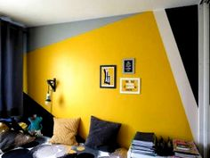 Bedroom False Ceiling Design, Bedroom Wall Designs, Bedroom Wall Colors, Room Colors, Bedroom Yellow, Yellow Walls, Paint Colors, Interior Walls, Interior Design