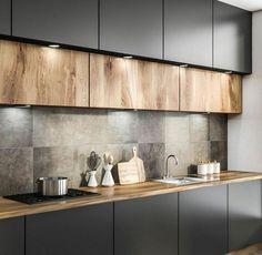 Kitchen Room Design, Kitchen Cabinet Colors, Home Decor Kitchen, Rustic Kitchen, Interior Design Kitchen, Home Kitchens, Kitchen Ideas, Kitchen Modern, Black Kitchens