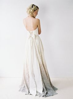 Taylor // A Dip-Dyed Lace Wedding Gown by Truvelle on Etsy