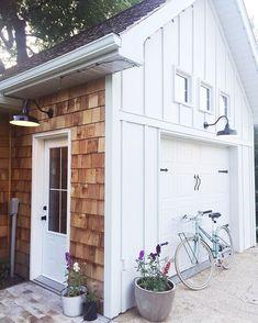 White board and batten and cedar modern farmhouse