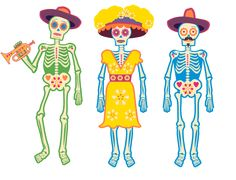 Mariachi Band  Guitar, Maracas & Trumpet. Items required: Life size skeletons (3), hats and instruments
