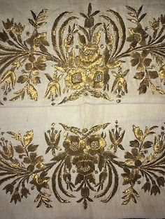 19th C LARGE ANTIQUE OTTOMAN-TURKISH GOLD METALLIC HAND EMBROIDERED TOWEL