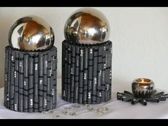 Basteln mit Papier oder Tapete, Wohnraumdeko, Teelichtuntersatz, Vase - YouTube