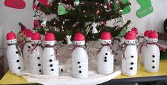 Coffee creamer bottles can become an army of snowmen!  We did this as a library craft and it is fun and easy for kids.
