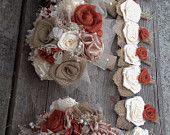 Rustic burnt orange burlap and ivory silk bouquets