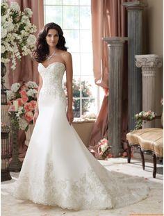 Robe de mariée 2014 sirène satin appliqué dentelle