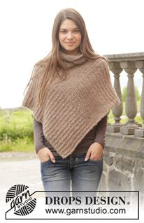 """Knitted DROPS poncho in garter st in 2 strands """"Brushed Alpaca Silk"""". Size: S - XXXL. ~ DROPS Design"""