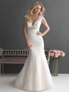 V Neck Floor Length Lace With Beading Sheath/ Column Unique Wedding Dresses