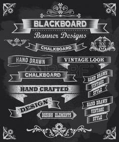 Chalkboard calligraphy banner and ribbon vector design