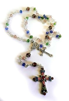 Genuine Multi Color Austrian Crystal Holy Mother Girls Rosary w/Crystal Cross