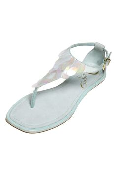 Juniors' Trend: Mint Green  (VOGUE's T-strap sandal with iridescent oval paillettes)