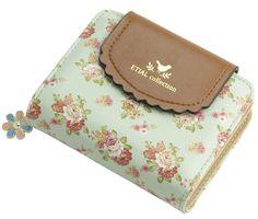 19.46$  Watch now - http://viavx.justgood.pw/vig/item.php?t=z2od3e20958 - ETIAL Women's Vintage Floral Zip Mini Wallet Short Design Coin Purse Green
