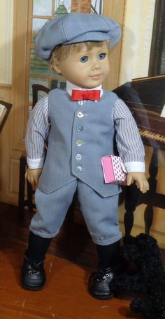 Victorian Era Shirt, Pants, Vest, Tie and Hat for 18 inch Dolls, by SugarloafDollClothes on Etsy Boy Doll Clothes, Doll Clothes Patterns, Clothing Patterns, American Boy Doll, American Doll Clothes, 18 Inch Boy Doll, Girl Dolls, Ag Dolls, Vest And Tie
