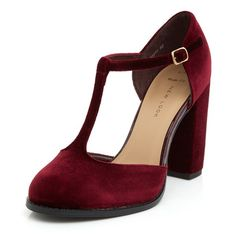 Wide Fit Dark Red Velvet T-Bar Block Heels ($15) ❤ liked on Polyvore featuring shoes, pumps, heels, deep red, red pumps, red velvet pumps, wide shoes, red shoes and block heel pumps