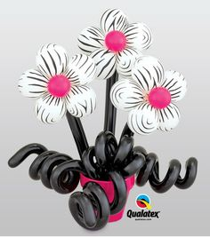 "These ""wild"" #balloon #flowers with bright pink centers make a unique gift for birthday or Mother's Day. #zebra"