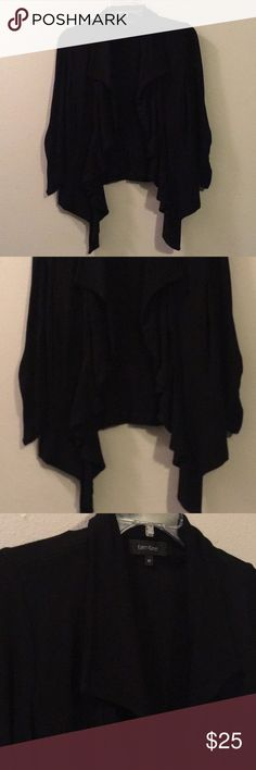 Karen Kane Black Draped Cascading Cardigan Jacket An everyday go to! Thick with stretch and draped falling ruffled lapels down the front. No closure, it's meant to be worn open. Keywords- woven loose knit sweater coat coverup ruffles trim fringe Karen Kane Sweaters Cardigans