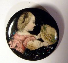 Watch Crystal Studio Button ~ Woman Child Admiring Hat ~ PARIS Signed TJG 68