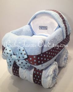 Baby Carriage Diaper Cake in Many Colors gift or by BabyFavors