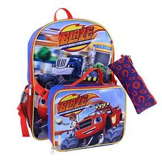 Blaze and the Monster Machines Backpack, Lunch Bag & Pencil Case Set - Kids