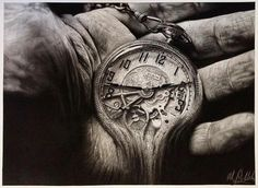 Graphite Charcoal Pen and Ink drawings. By Matthew S. Time Piece Tattoo, Pieces Tattoo, Time Tattoos, New Tattoos, Hand Tattoos, Sleeve Tattoos, Time Clock Tattoo, Pocket Watch Drawing, Pocket Watch Tattoos