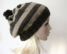 Brown and Caramel Baggy Beanie Hat Striped with Pom Pom