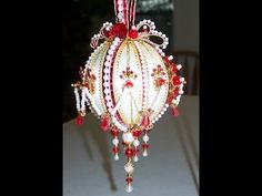 Tichiba making this beaded satin Christmas ball ornament kit. Valentines Day - YouTube