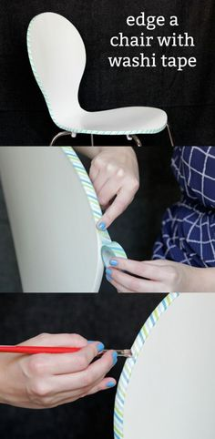 Everyone loves washi tape crafts! In this tutorial, Heidi shows you how to edge a chair with washi and Mod Podge. Dollar Store Crafts, Crafts To Sell, Easy Crafts, Diy And Crafts, Diy Furniture Fix, Recycled Furniture, Decoupage Furniture, Furniture Projects, Painted Furniture