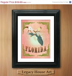 ON SALE Florida State Map Art - 8.5X11 Ornate Birds Love Map Giclee Print - Tree Flowers & Bird - Fragrant Peach LHA-094-05