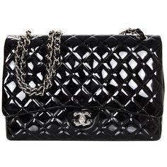 Preowned Chanel Black Patent Leather Single Flap Maxi Bag With Shw (2.997.405 CLP) ❤ liked on Polyvore featuring bags, handbags, shoulder bags, black, chanel, single strap purse, shoulder strap bags, flap shoulder bag and single strap shoulder handbags