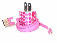IPhone Charger Embellished with Pink Pebbles