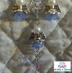 Angel Infant Loss Necklace and Earring set with Pink and Blue Dangles