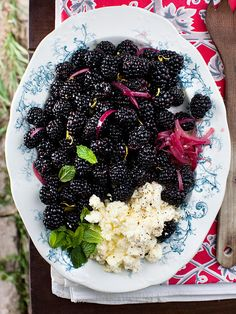 Blackberry Salad with Creamy Feta  Yummy- We have little white blooms all over our bushes!