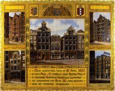 Tableau van 164 keramische tegels bij het 50-jarig bestaan van de fa. Peck en Co te Amsterdam, door plateelbakkerij Rozenburg, Den Haag, 1907