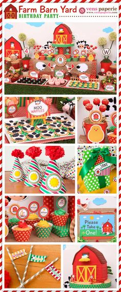 Farm Barn Yard Birthday Party Package Personalized por venspaperie