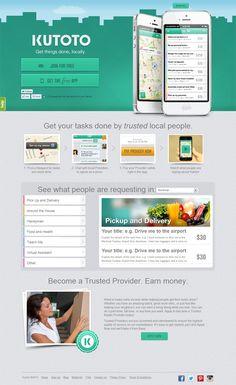 Example of mobile app website design: Kutoto