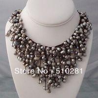 FREE SHIPPING Handmade Trendy Grey Pearls Waterfall Bib Necklace