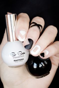 Nail Art - Black and White Negative Space Nails - Used: Orly Nailtrition and Essie Ridge Filler as a base, Sea Siren Leucosia (white) and Midnight Moves (black), Essie Matte About You and Sally Hansen Big Shiny top coat. Wearing Sportsgirl ring throughout.