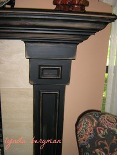 p/painting-gayles-mantel-from-piclkled-white-washed-oak-to-black-distressed - The world's most private search engine Painted Fireplace Mantels, Distressed Fireplace, Painted Mantle, Oak Mantle, White Mantle, Paint Fireplace, Wood Mantels, Rustic Fireplaces, Fireplace Remodel